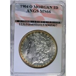 1904-O MORGAN SILVER DOLLAR -  ANGS SUPERB GEM BU
