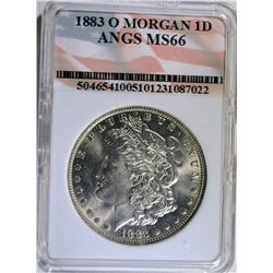 1883-O MORGAN SILVER DOLLAR - ANGS  SUPERB GEM BU