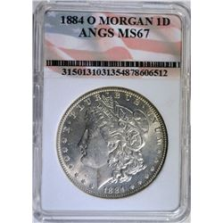 1884-O MORGAN SILVER DOLLAR - ANGS SUPERB GEM BU