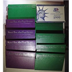 U.S PROOF SETS OF THE 1990'S IN ORIGINAL PACKAGING 1990-99 ( 10 ) SETS