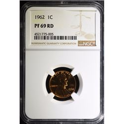 1962 LINCOLN CENT, NGC PF-69 RED