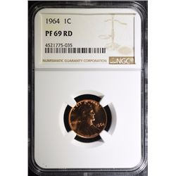 1964 LINCOLN CENT, NGC PF-69 RED