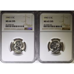 ( 2 ) 1943-S JEFFERSON NICKELS, NGC MS-65  & MS-66 FULL STEPS