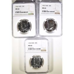 3 - KENNEDY HALF DOLLARS - NGC MS66 SMS- 1965 - 1966 - 1967