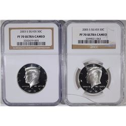 2003-S & 2005-S SILVER KENNEDY HALF DOLLARS, NGC PF-70 ULTRA CAMEO