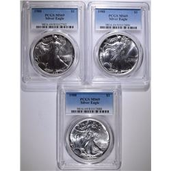 ( 3 ) 1988 AMERICAN SILVER EAGLES, PCGS MS-69