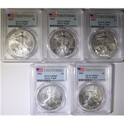 ( 5 ) 2003 AMERICAN SILVER EAGLES, PCGS MS-69 FIRST STRIKE