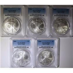 ( 5 ) 2006 AMERICAN SILVER EAGLES, PCGS MS-69