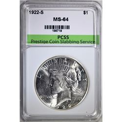 1922-S PEACE SILVER DOLLAR PCSS CH BU