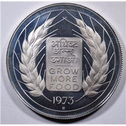 1973 B, India 10 Rupees, PROOF, Low Mintage, 50% Silver, .3617 ozt