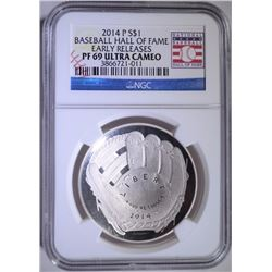 2014-P BASEBALL HALL OF FAME SILVER DOLLAR - EARLY RELEASES NGC PF69 ULTRA CAMEO
