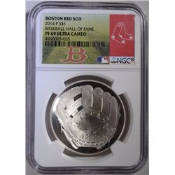 2014-P BASEBALL HOF SILVER DOLLAR - NGC PF 69 ULTRA CAMEO - RED SOX LABEL
