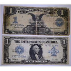 1899 BLACK EAGLE SILVER CERTIFICATE AG Taped & 1923 SILVER CERTIFICATE FINE