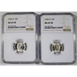 2 - 1945-D MERCURY DIME - NGC MS65 FB