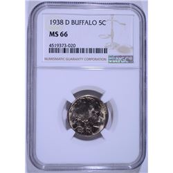 1938-D BUFFALO NICKEL - NGC MS66