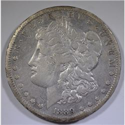 1889-CC MORGAN SILVER DOLLAR, XF with rim damage & scratches.  KEY COIN