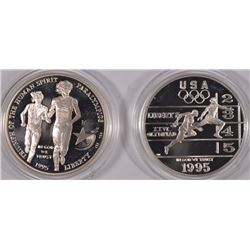 2 - 1995 PROOF SILVER COMMEM - OLYMPIC GAMES - BLIND RUNNER & TRACK / FIELD