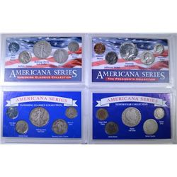 ( 4 ) AMERICANA SERIES SETS WITH SILVER  DIMES QUARTER & HALVES