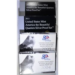 4 - U.S. MINT SILVER QUARTER SETS; 2004, 2005, 2011, 2012 - ORIGINAL BOX/COA
