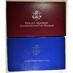 1999 DOLLEY MADISON DOLLAR & 1986 LIBERTY 2-COINS PROOF COMMEM SETS