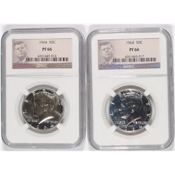 ( 2 ) 1964 KENNEDY HALF DOLLARS NGC PROOF 66