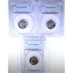 ( 3 ) 1940 JEFFERSON NICKELS, PCGS MS-65 FULL STEPS
