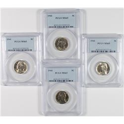 (4) 1941 Jefferson Nickels PCGS MS-65