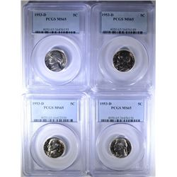 (4) 1953 D JEFFERSON NICKELS PCGS MS 65