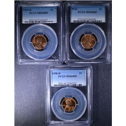 3 - PCGS MS66 RED LINCOLN CENTS; 1944, 1955-D & 1958-D