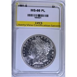 1881-S MORGAN SILVER DOLLAR LVCS SUPERB GEM PL