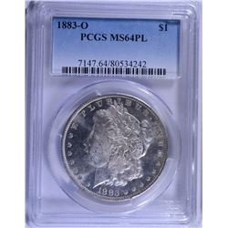 1883-O MORGAN SILVER DOLLAR PCGS MS64 PL