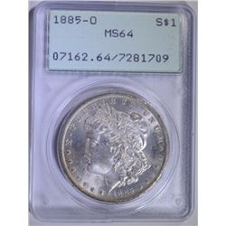 1885-O MORGAN SILVER DOLLAR - PCGS MS64 - OLD GREEN HOLDER