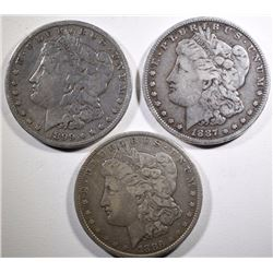 MORGAN SILVER DOLLARS: 1886 VF, 1887 FINE & 1899-O