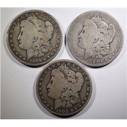 MORGAN SILVER DOLLARS: 1882 GOOD, 1899-O VG & 1900-O VG