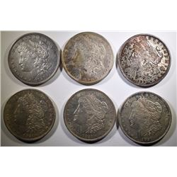 ( 4 ) 1921 & ( 2 ) 1921-D  AVERAGE CIRCULATED  MORGAN SILVER DOLLARS