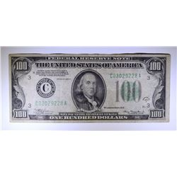 1934-A $100.00 FEDERAL RESERVE NOTE, VF