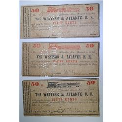 ( 3 ) 50-CENT NOTES FOR THE WESTERN & ATLANTIC RAIL ROAD