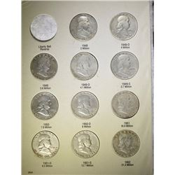 COMPLETE SET OF FRANKLIN HALF DOLLARS: 1948-1963 ( 35 ) COINS, VERY NICE CIRC+
