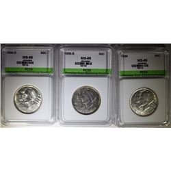 1936-P-D-S ARKANSAS COMMEMORATIVE HALF DOLLAR SET, PCSS GEM BU