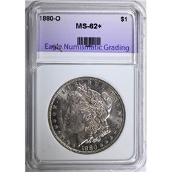 1880-O MORGAN SILVER DOLLAR, ENG CHOICE BU