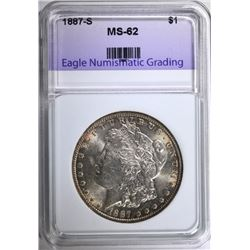 1887-S MORGAN SILVER DOLLAR, ENG CHOICE BU