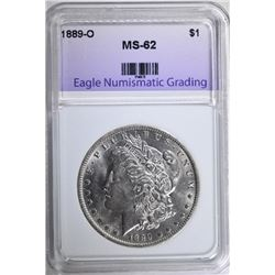 1889-O MORGAN SILVER DOLLAR, ENG CHOICE BU
