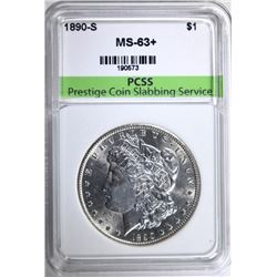 1890-S MORGAN SILVER DOLLAR, PCSS CHOICE BU+