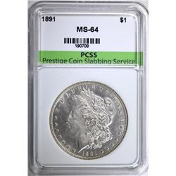 1891 MORGAN SILVER DOLLAR, PCSS CH/GEM BU