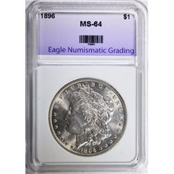 1896 MORGAN SILVER DOLLAR, ENG CH/GEM BU