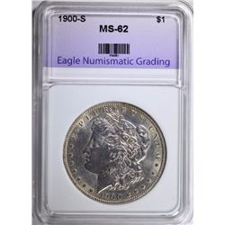1900-S MORGAN SILVER DOLLAR, ENG CHOICE BU