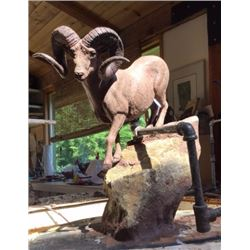 """Lapp Creek 1936"" Bronze by Rick Taylor and ""Dream Rams of British Columbia"" Coffee Table Book by Bi"