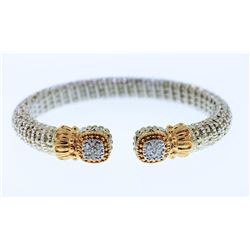 14K Yellow Gold and Sterling Silver VAHAN Cuff Bracelet