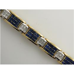 18K White and Yellow Gold Sapphire Bracelet with Diamonds