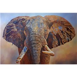 """""""Big Tusker"""" - Original Oil on Canvas by Renowned Elephant Artist Dawie Fourie"""